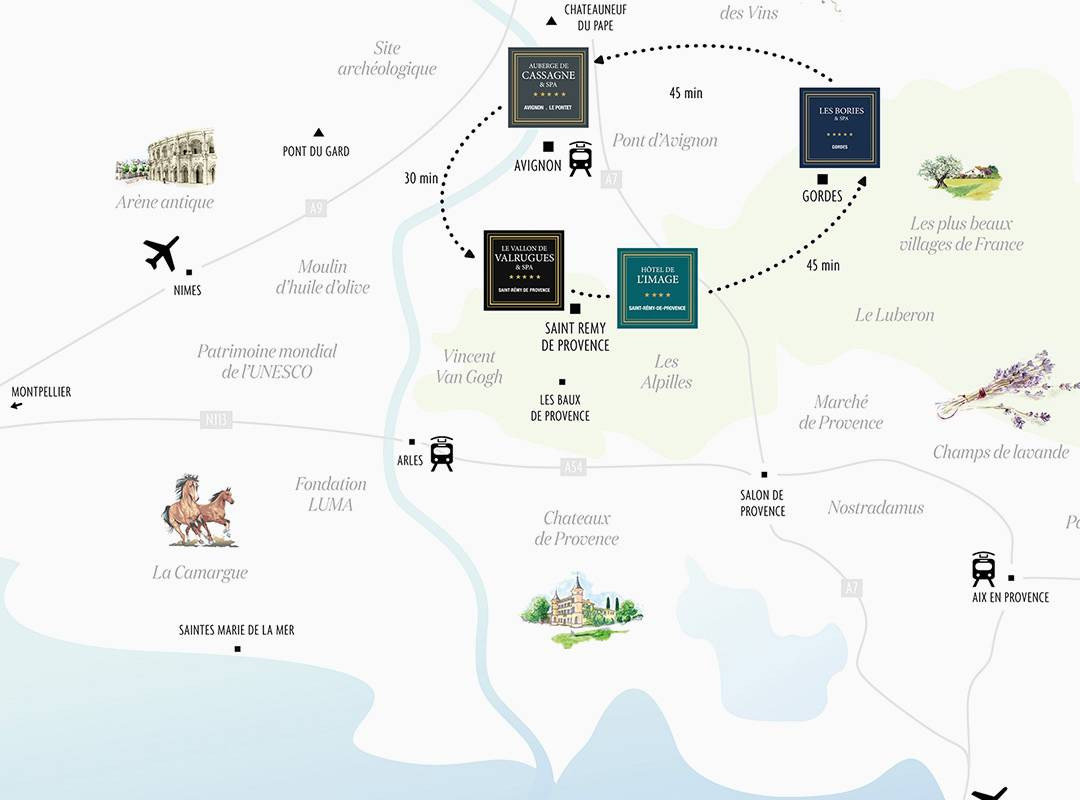 Map hotel st remy de provence