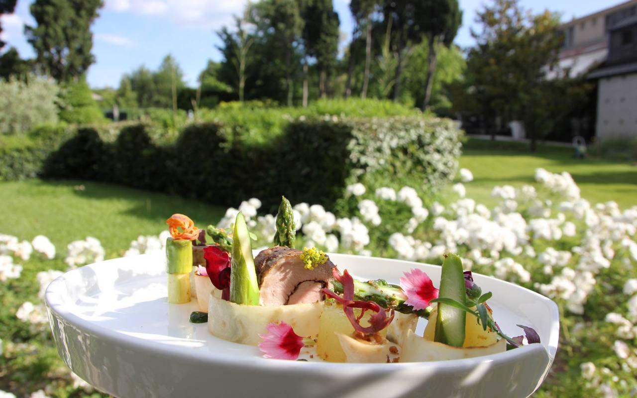 Mediterranean dish, hotel restaurant saint remy de provence, Hôtel de L'Image.