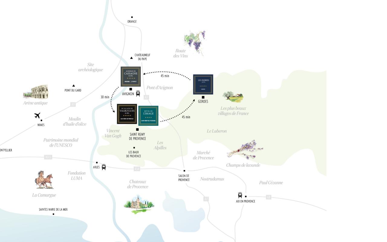 Map hôtel spa avignon, Hôtels Prestige Provence