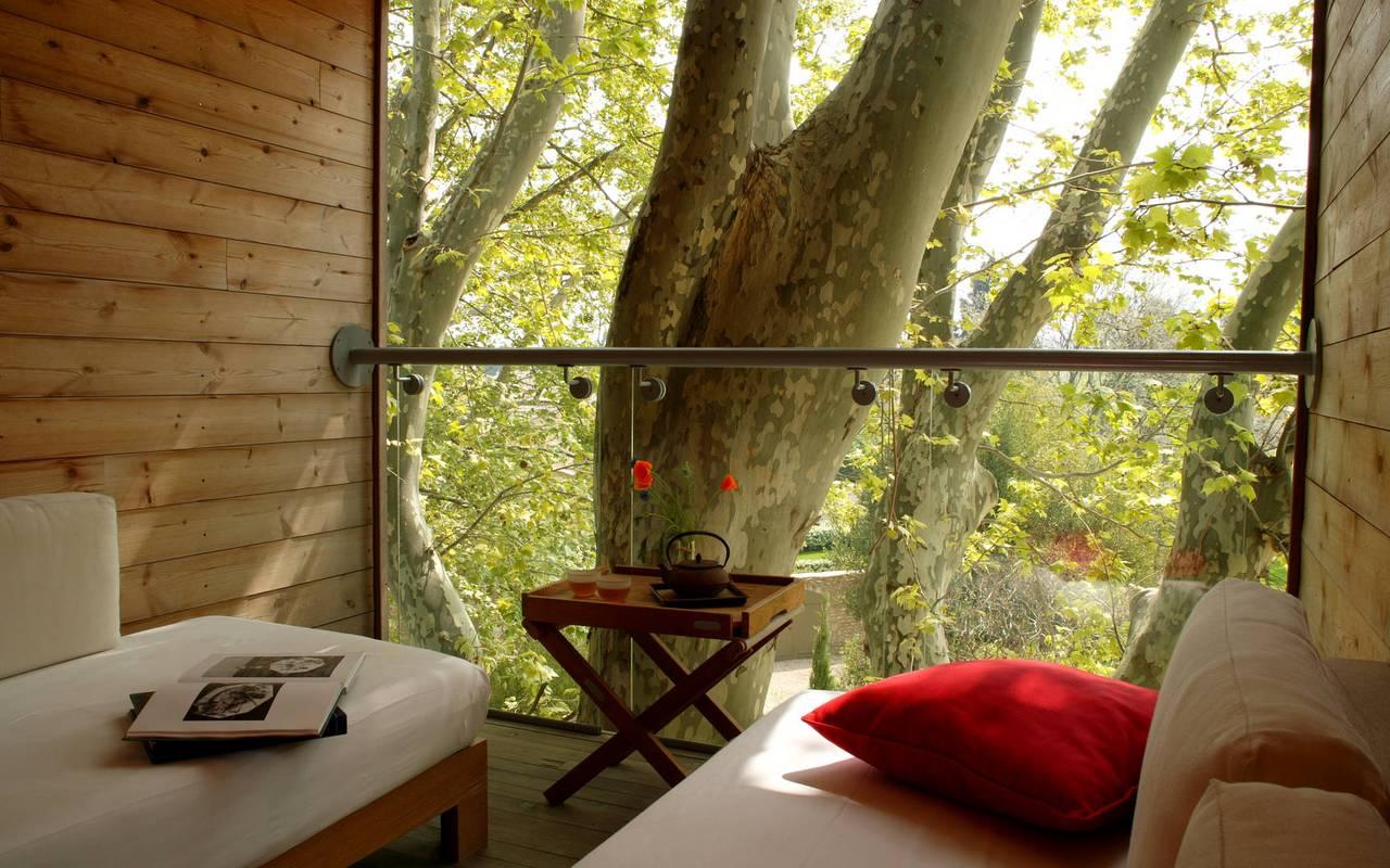 Agréable terrasse en bois, hotel avec piscine hotels, Hôtel de L'Image.